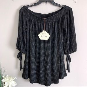 Knox Rose Black Striped Off the Shoulder Top - NWT